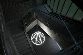 A classy diamond made up of LIGEO luminaries lightens the stairway of the Zeche Zollverein.