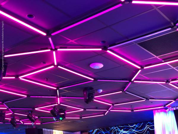 A geometric raster made up of the lightning system LIGEO serves as ceiling light for the club of the ABBA singer during the day and as a disco light at night.